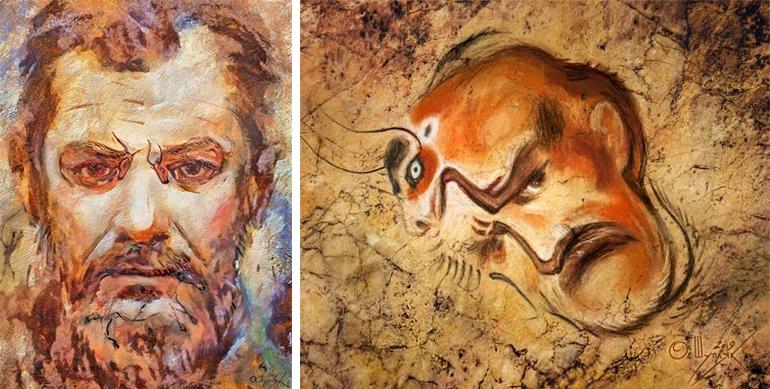 """Шупляк Олег """"Автопортрет на стіні печери"""" 2019 та """"Автопортрет в Альтамірі"""" 2019"""