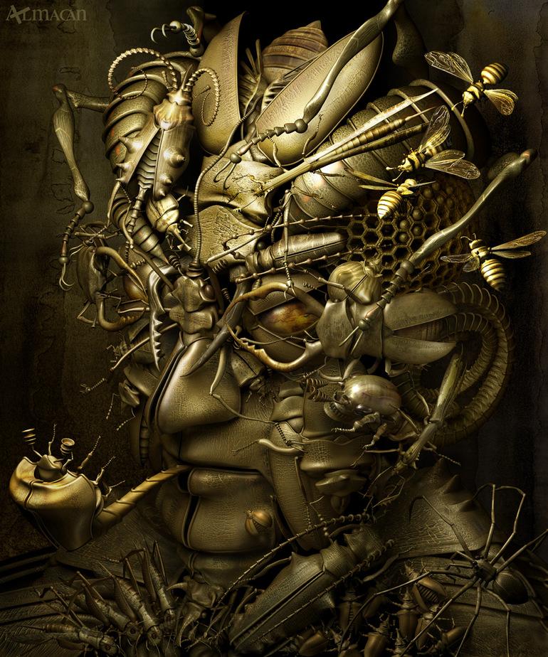 Казухико Накамура япоский CG-художник сюрреалистичный стимпанк 5